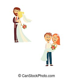 Vector newlywed couple set isolated