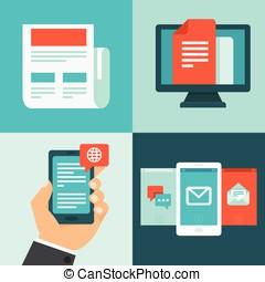 vector, newsletter, concept, in, plat, stijl