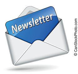 Vector illustration of newsletter envelope icon on white background