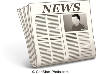 Vector newspaper icon - Newspaper with photo. Vector...