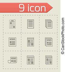 Vector newspaper icon set