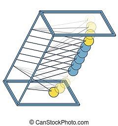 Vector Newton swing. Isometric pendulum cradle metal bolls....