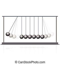 Vector Newton swing. Pendulum cradle metal bolls. Flatten...