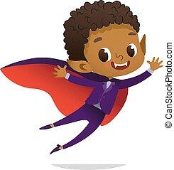 vector, niño, mascot., diablo, african - american, carácter, halloween, aislado, tela, vampiro, invitaciones, niños, flying., disfraz, dracula, fiesta., caricatura, fiesta, reír