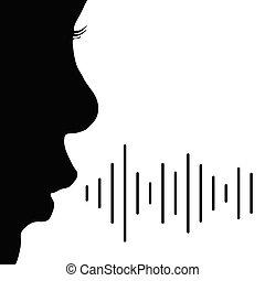 vector, niño, negro, color, ilustración, voz