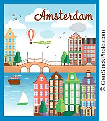 Vector Nice Amsterdam City Background - Vector Colored...