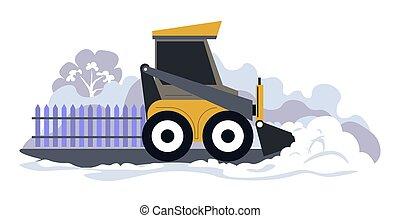 vector, nieve, máquina, tractor, el quitar, limpieza