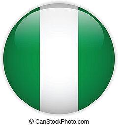 Nigeria Flag Glossy Button - Vector - Nigeria Flag Glossy...