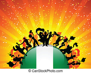 Nigeria Sport Fan Crowd with Flag - Vector - Nigeria Sport...