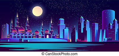 Vector night city background with muslim mosque