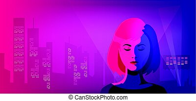 Vector night city illustration with neon glow and vivid colors. Woman against futuric buildings.