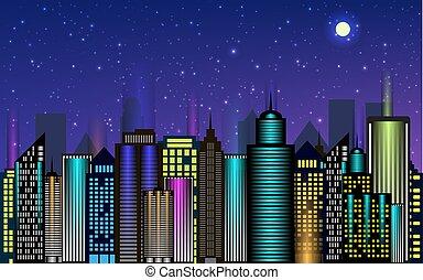 Vector night city skyscrapers with neon glow