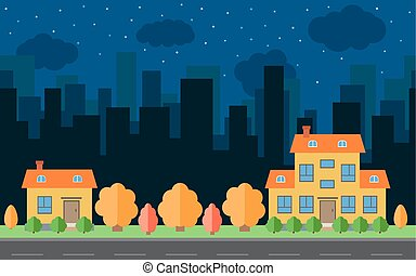 Vector night city with two cartoon houses and buildings
