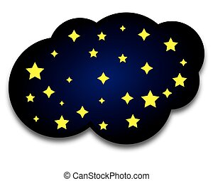vector night cloud with stars