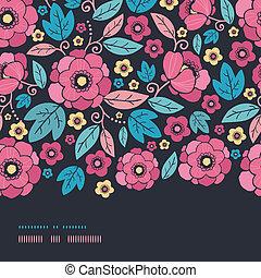 Night Kimono Blossom Horizontal Border Seamless Pattern Background
