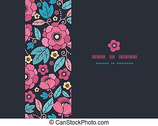 Night Kimono Blossom Horizontal Frame Seamless Pattern Background