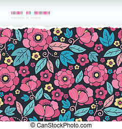 Night Kimono Blossom Horizontal Torn Frame Seamless Pattern Background