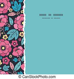 Night Kimono Blossom Square Torn Frame Seamless Pattern Background