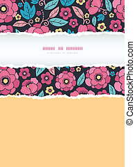Night Kimono Blossom Vertical Torn Frame Seamless Pattern Background