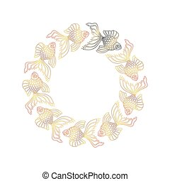 Vector nine hand drawn goldfishes floating in a circle. Nine...