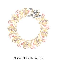 Vector nine hand drawn goldfishes floating in a circle. Nine golden goldfishes and one black goldfish. Aquarium Feng Shui. Line art design goldfish round frame