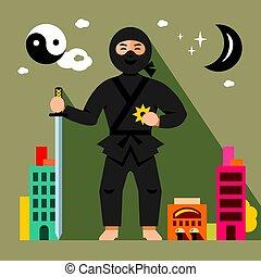 Vector Ninja in the night city. Flat style colorful Cartoon illustration.