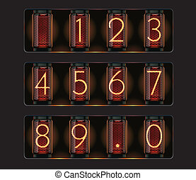 Vector nixie tube with digits - Set of detailed glowing...