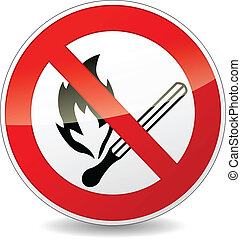 Vector no flame sign - Vector illustration of no flame red...