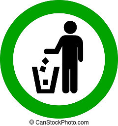 Vector no littering round sign - Keep clean, no littering ...
