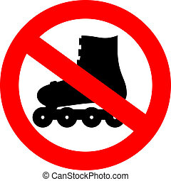 Vector no roller skate sign