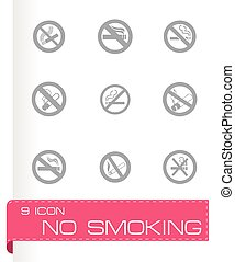 Vector no smoking icon set on grey background