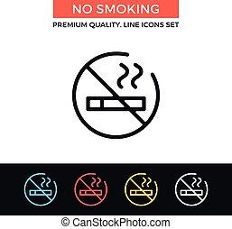 Vector no smoking icon. Thin line icon