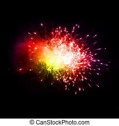 vector, noche, fuegos artificiales, colorido, sky.