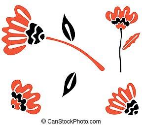 vector., noir, clipart, style, blanc, arrière-plan., scandinave, rouges, résumé, floral, fleurs