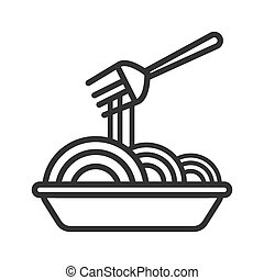 Vector noodle icon. An empty outline is isolated on a white background