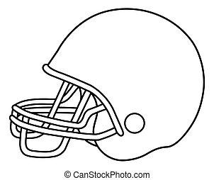 vector, norteamericano, casco, fútbol, ilustración