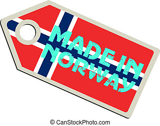 vector, noruega, etiqueta, hecho