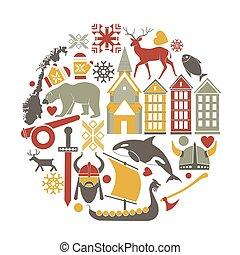 vector, noruega, turismo, noruego, señales, iconos, viaje, cartel