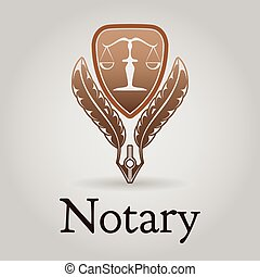 vector, notary, plantilla, logotipo, legal, organization.