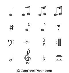 vector, notas, conjunto, música, iconos