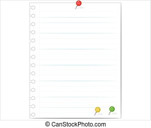 Vector note paper and pins in various colors