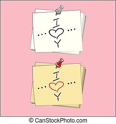 Vector Note Paper with pin, heart, I love you