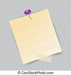 Vector Note Paper with pin on checkered background