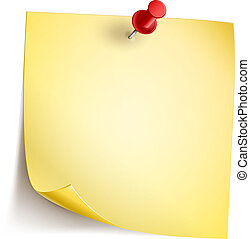 Note Paper - Vector Note Paper with pin on white background....