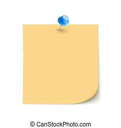 Vector Note Paper with pin on white background isolated
