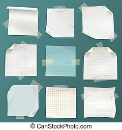 Vector note papers set - lined, checkered pages