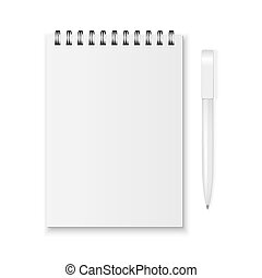 Vector notebook and pen