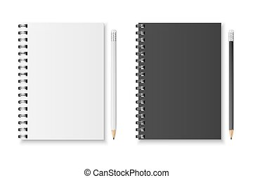 Vector notebook and pencil - Blank realistic spiral notebook...
