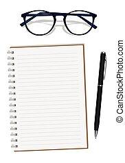 Vector Notebook glasses pen