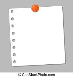 VECTOR: notebook page with realistic orange pin button